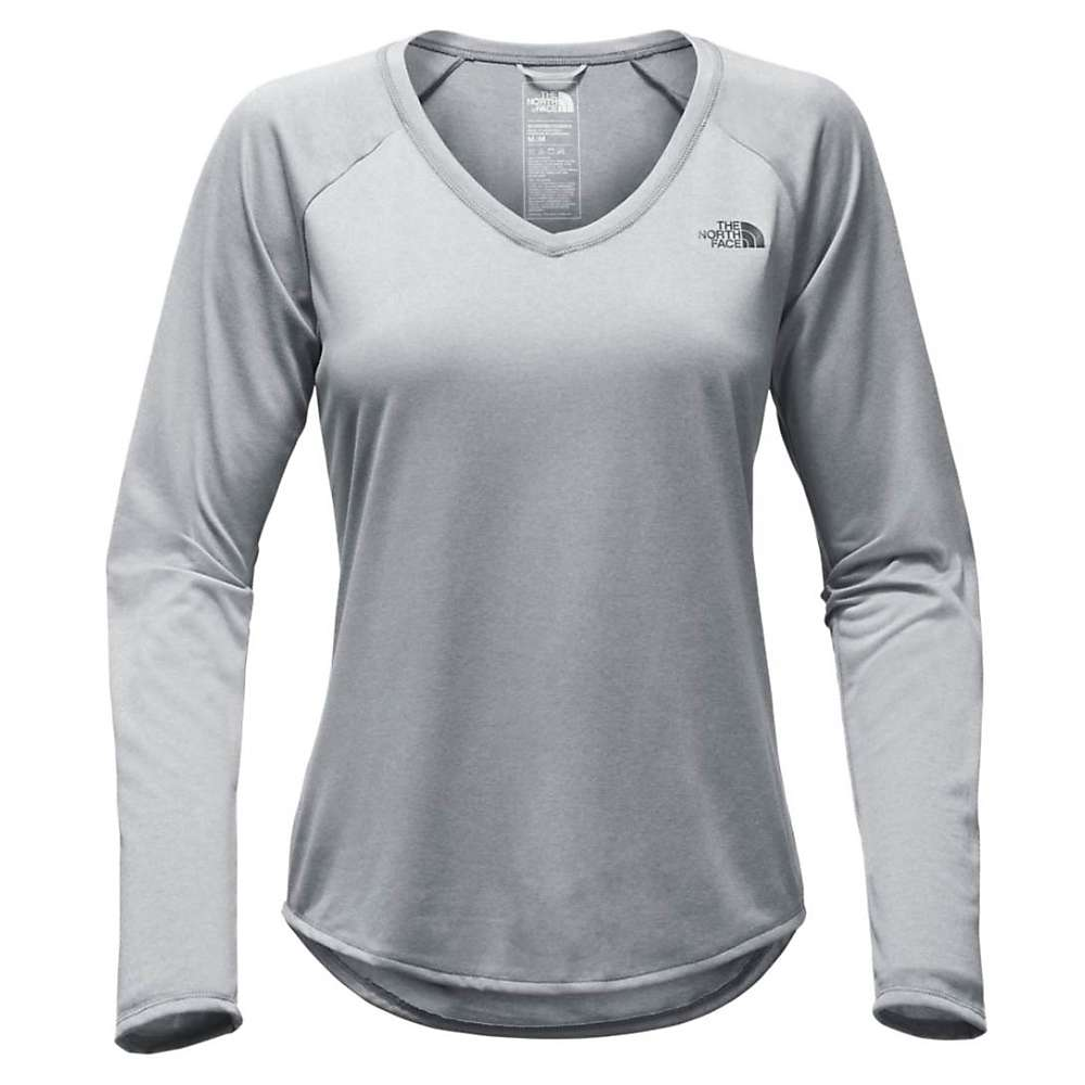 The North Face Women's L/S Reaxion Amp Tee - Small - TNF Medium Grey Heather / Asphalt Grey