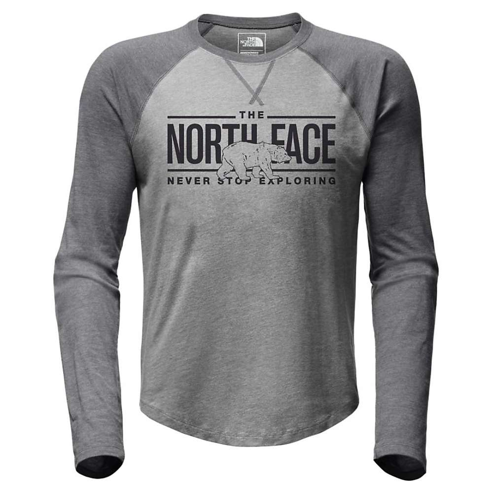 The North Face Men's Double Bar Raglan LS Baseball Tee - XXL - TNF Light Grey Heather / TNF Dark Grey Heather