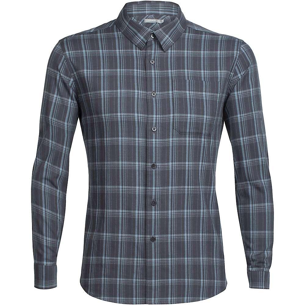 Icebreaker Men's Compass Flannel LS Shirt - Large - Monsoon / Vapour / Plaid