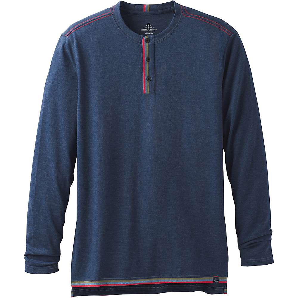 Prana Men's Garrity LS Henley - XL - Equinox Blue Heather
