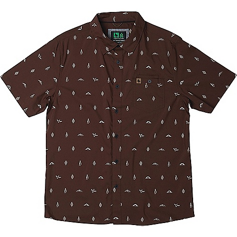 HippyTree Men's Motif Woven SS Shirt Rust HippyTree Men's Motif Woven SS Shirt - Rust - in stock now. FEATURES of the HippyTree Men's Motif Woven Short Sleeve Shirt Stretch woven shirt with allover print Chest pocket with stash pocket Engraved buttons Debossed leather labels on chest pocket and side seam Nomad division interior woven label