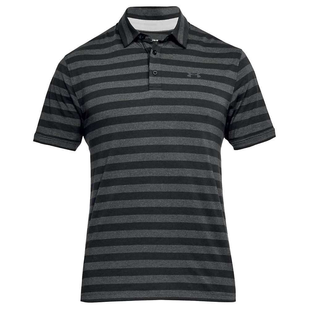 Under Armour Men's Charged Cotton Scramble Stripe Polo - Small - Black / Rhino Grey