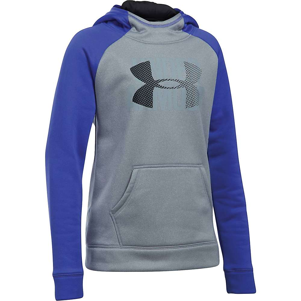 Under Armour Girls' UA Armour Fleece Highlight Hoodie - Large - Steel Light Heather / Constellation Purple / Black