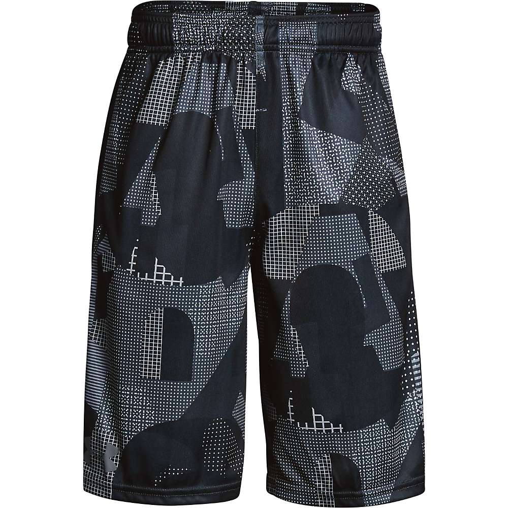 Under Armour Boys' UA Stunt Printed Short - XL - Overcast Grey / Black / Graphite