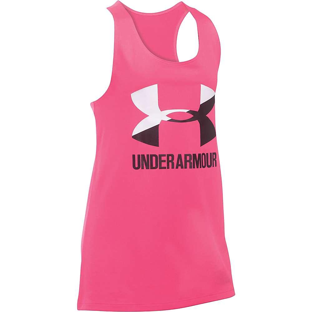 Under Armour Girls' UA Big Logo Slash Tank - Small - Penta Pink / White / Black