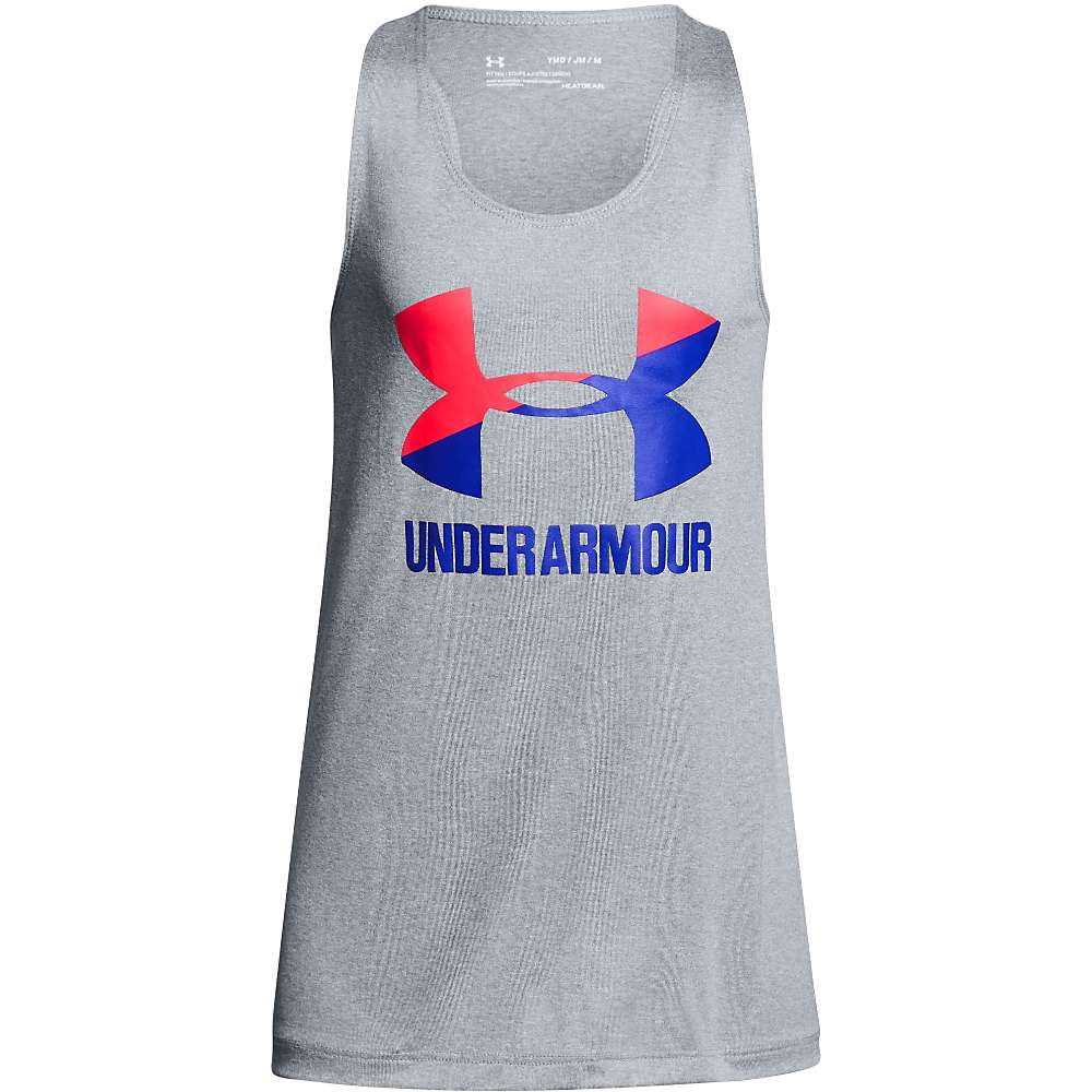 Under Armour Girls' UA Big Logo Slash Tank - Medium - Steel Light Hthr/Penta Pink/Constellation Purple