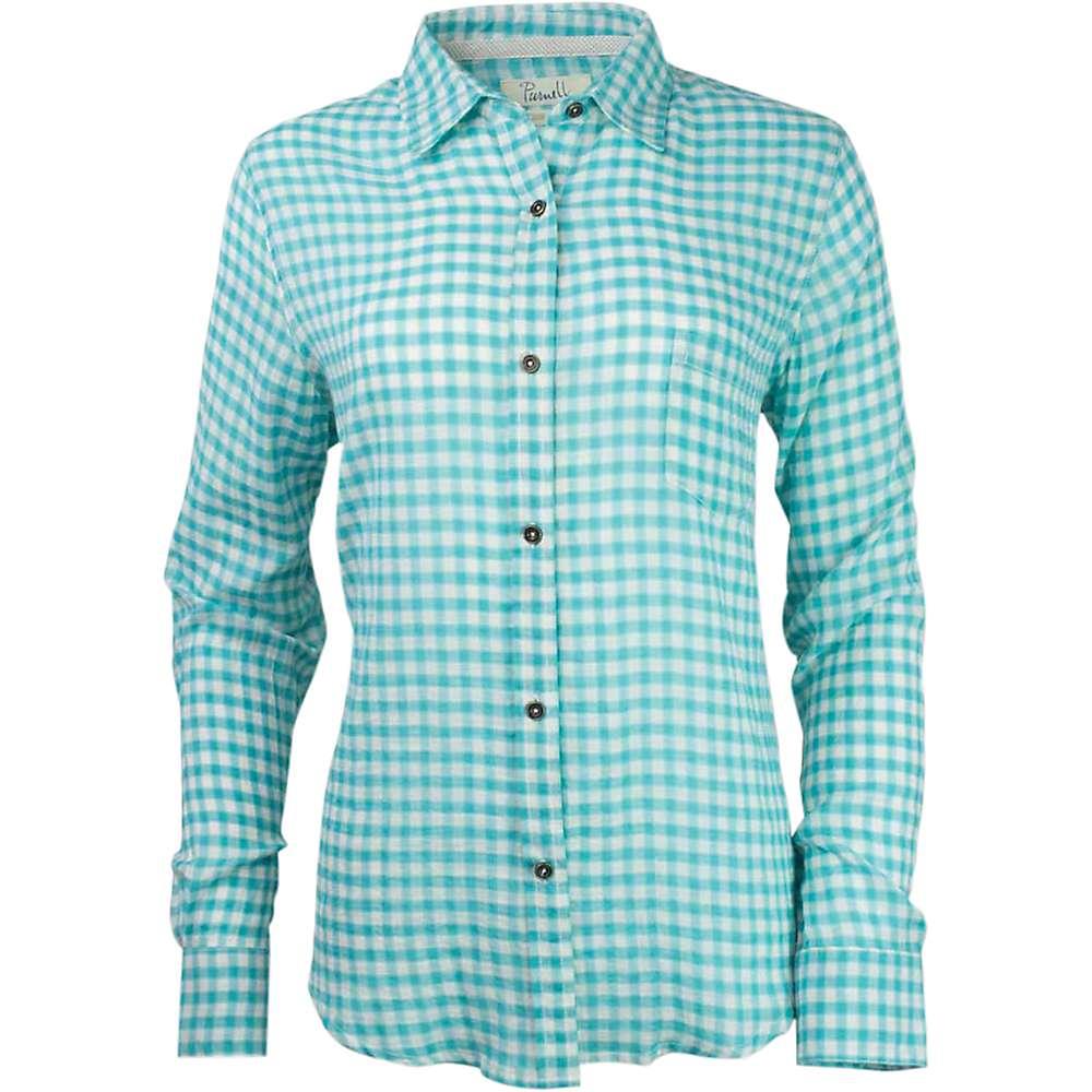 Purnell Women's Checkered LS Shirt - Large - Aqua
