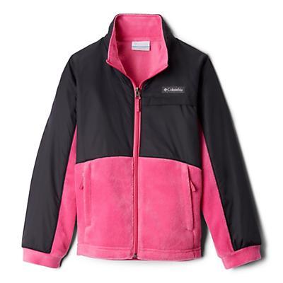 Columbia Youth Girls Benton Springs III Overlay Fleece Jacket - Pink Ice/Black