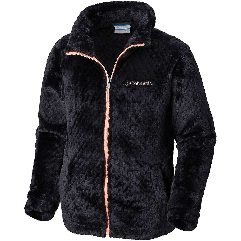 Columbia Youth Girls Fluffy Fleece Full Zip Jacket - Small - Black / Tiki Pink
