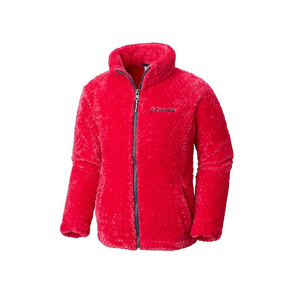 Columbia Youth Girls Fluffy Fleece Full Zip Jacket - Small - Cactus Pink / Nocturnal