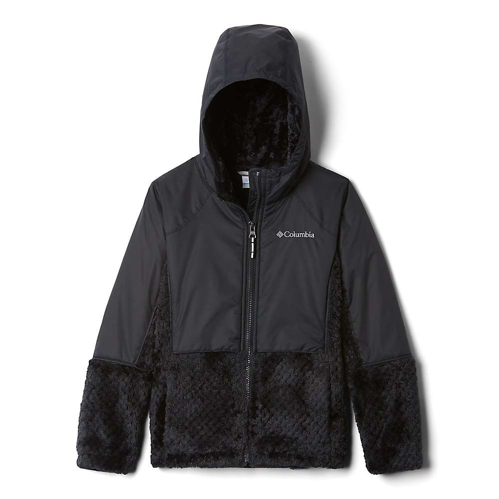 Columbia Youth Girls Fluffy Fleece Hybrid Full Zip Jacket - XS - Black