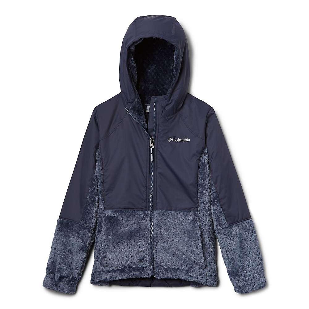 Columbia Youth Girls Fluffy Fleece Hybrid Full Zip Jacket - XS - Nocturnal
