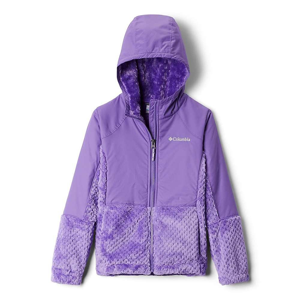 Columbia Youth Girls Fluffy Fleece Hybrid Full Zip Jacket - XS - Grape Gum