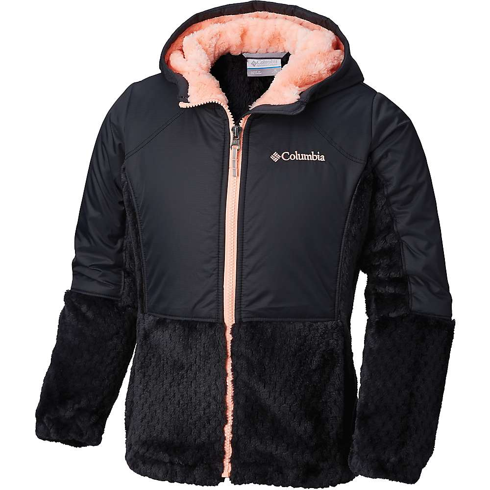 Columbia Youth Girls Fluffy Fleece Hybrid Full Zip Jacket - Small - Black / Tiki Pink
