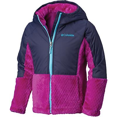 Columbia Youth Girls Fluffy Fleece Hybrid Full Zip Jacket - Large - Bright Plum / Nocturnal