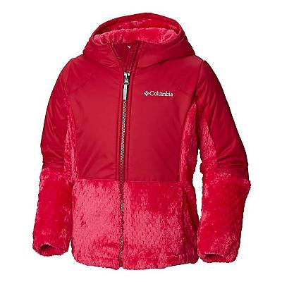 Columbia Youth Girls Fluffy Fleece Hybrid Full Zip Jacket - Small - Cactus Pink / Pomegranate