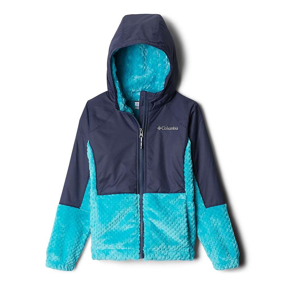 Columbia Youth Girls Fluffy Fleece Hybrid Full Zip Jacket - XS - Geyser/Nocturnal