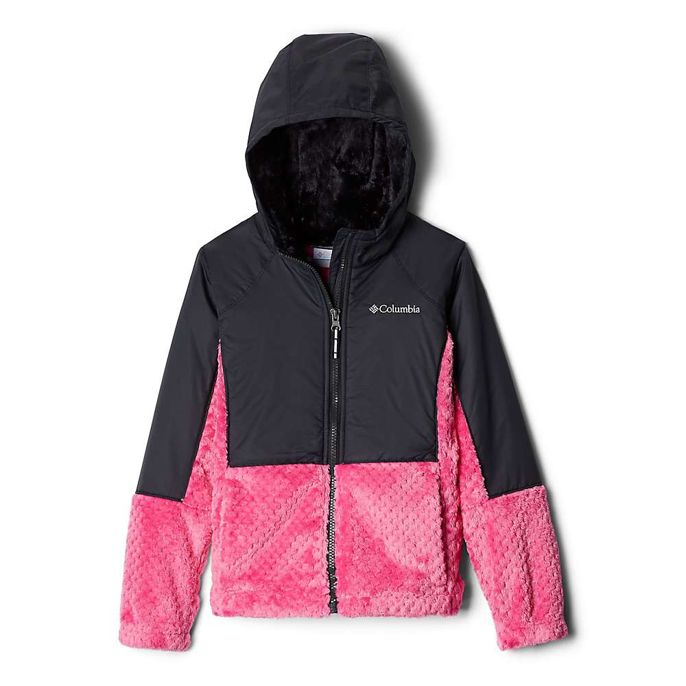 Columbia Youth Girls Fluffy Fleece Hybrid Full Zip Jacket - XS - Pink Ice/Black