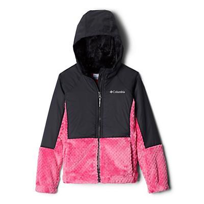 Columbia Youth Girls Fluffy Fleece Hybrid Full Zip Jacket - Pink Ice/Black