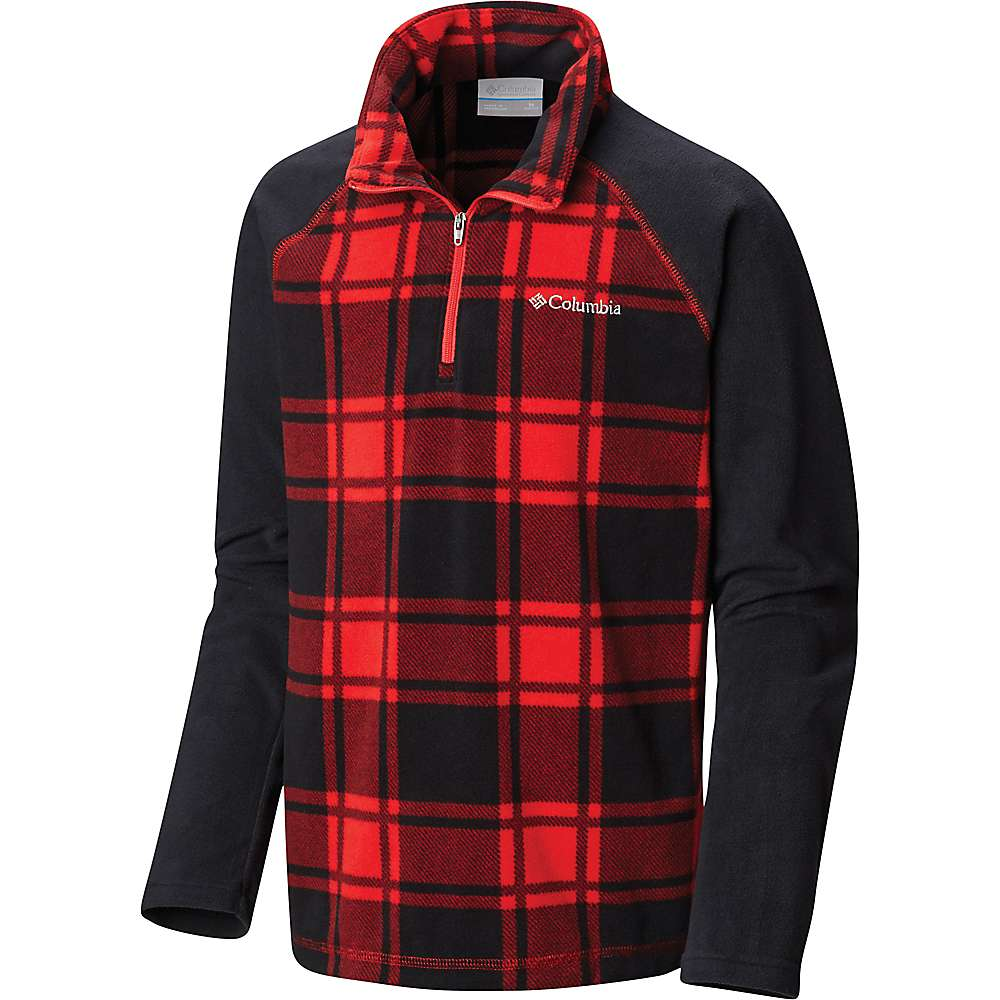 Columbia Youth Boys Glacial III Fleece Printed Half Zip Top - Small - Red Spark Check