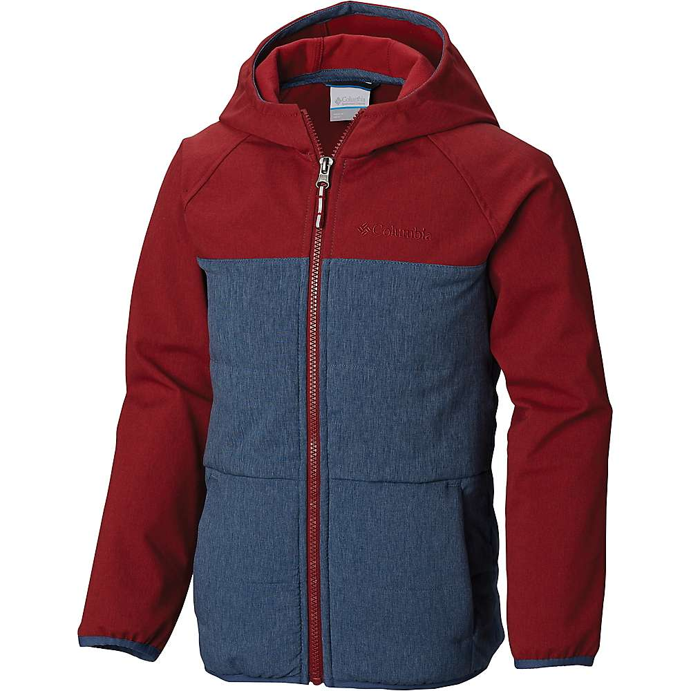 Columbia Youth Boys Take A Hike Softshell Jacket - XS - Dark Mountain / Red Element
