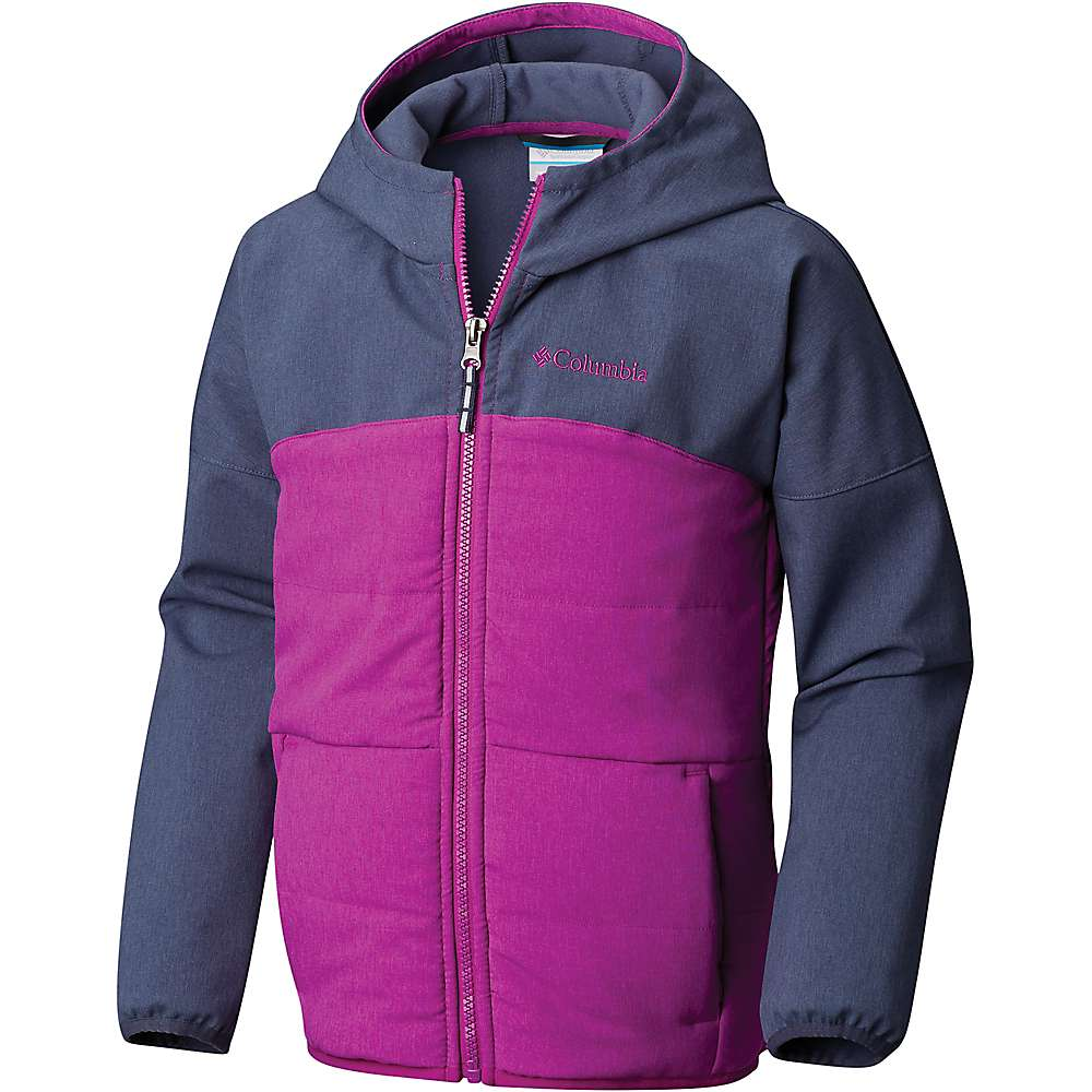 Columbia Youth Girls Take A Hike Softshell Jacket - XS - Nocturnal Hthr / Bright Plum