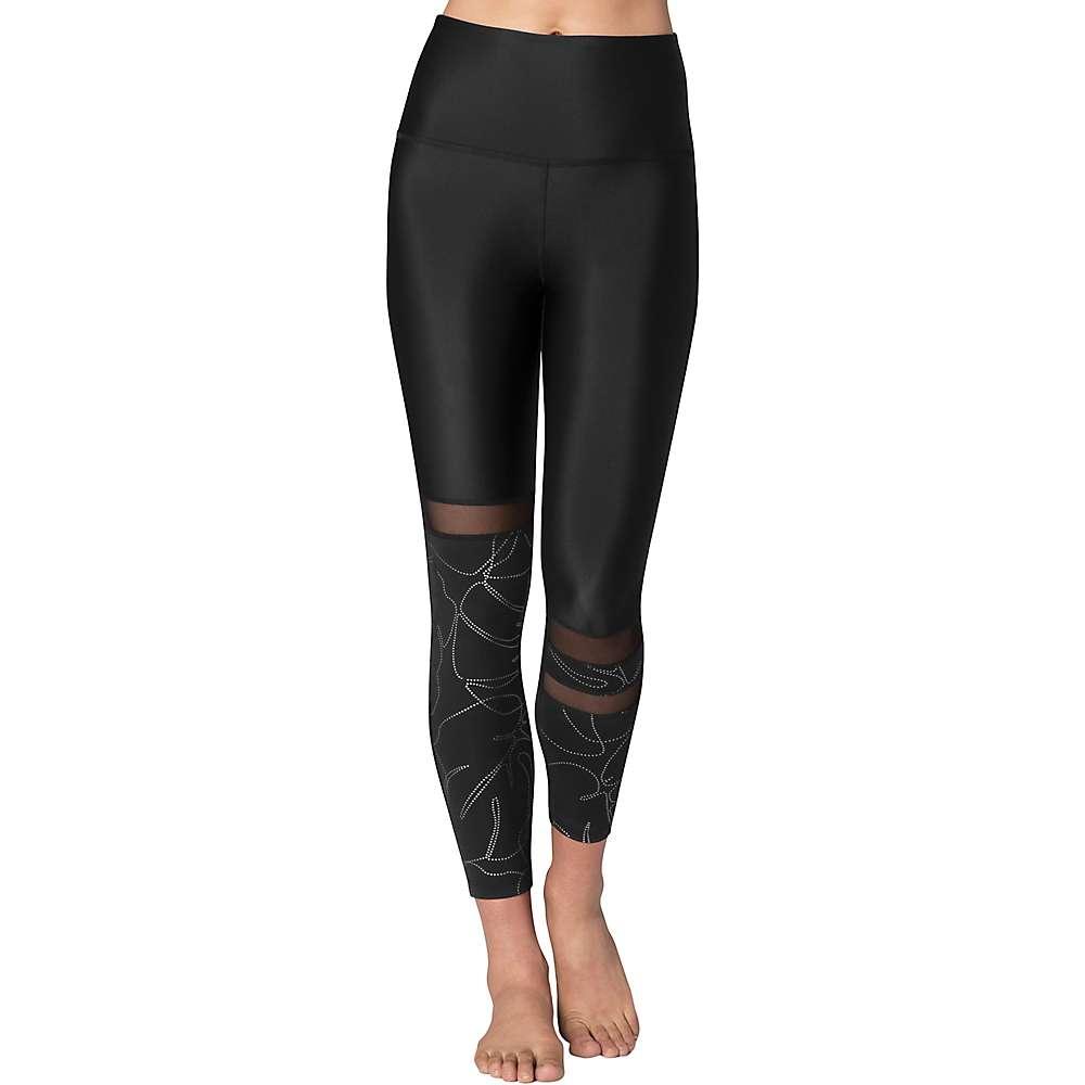 Beyond Yoga Women's Flashback Paneled High Waisted Midi Legging - Large - Monstera Leaf Silver / Black