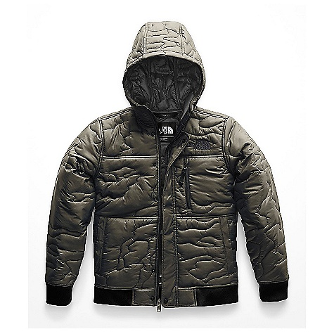 The North Face Kid's Camo Quilt Insulated Hoodie New Taupe Green
