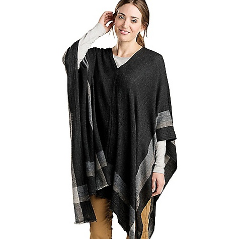 Toad & Co Women's Namche Poncho Black Toad & Co Women's Namche Poncho - Black - in stock now. FEATURES of the Toad & Co Women's Namche Poncho Convertible woven poncho Opening at center for head access to wear as a poncho, or loop ends through center hole Wrap around neck as a large scarf Border stripe pattern