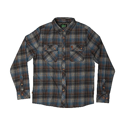 HippyTree Men's Sheldon Flannel Blue HippyTree Men's Sheldon Flannel - Blue - in stock now. FEATURES of the Hippy Tree Men's Sheldon Flannel Yarn dyed plaid flannel shirt Matching chest pockets with flap closures Engraved buttons Debossed leather labels on chest pocket and side seam Printed interior yoke Nomad division interior woven label