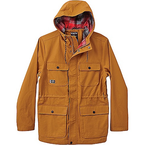 KAVU Men's Partaker Jacket Tobacco KAVU Men's Partaker Jacket - Tobacco - in stock now. FEATURES of the KAVU Men's Partaker Jacket Full zip jacket with covered logo snap placket Three panel hood with drawcord Two chest flap pockets Hand cargo pockets with logo snap closure and side entry Internal welt and media pocket straight vented hem