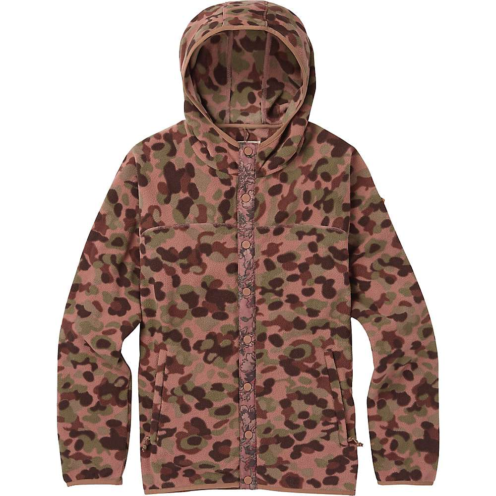 Burton Women's Hearth Snap-Up Fleece Jacket – Large – Moss Camo
