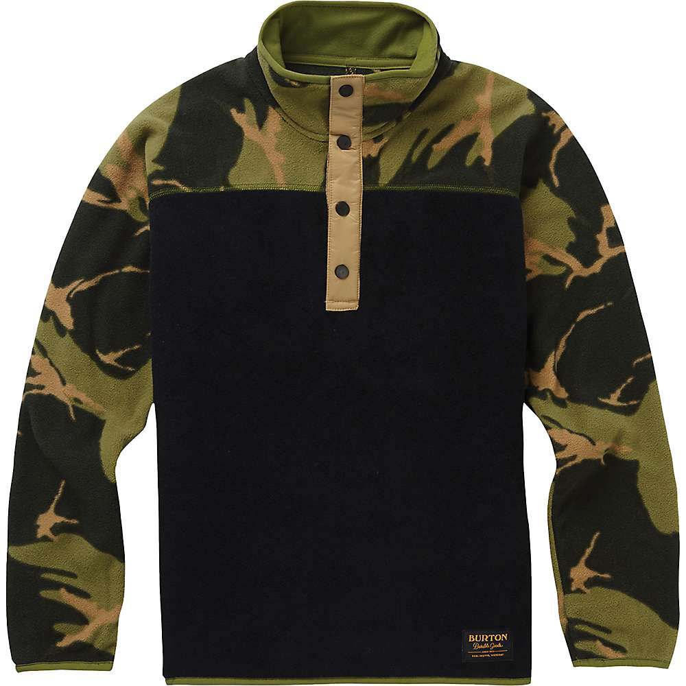 Burton Youth Spark Anorak Fleece Jacket - Small - True Black / Mtn Camo thumbnail