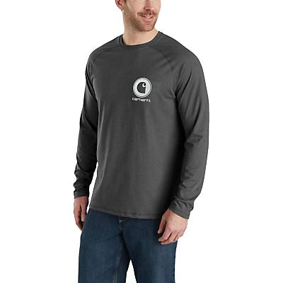 Carhartt Force Delmont LS Graphic T-Shirt - Granite Heather - Men