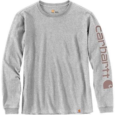 Carhartt WK231 Workwear Sleeve Logo LS T-Shirt - Heather Grey - Women