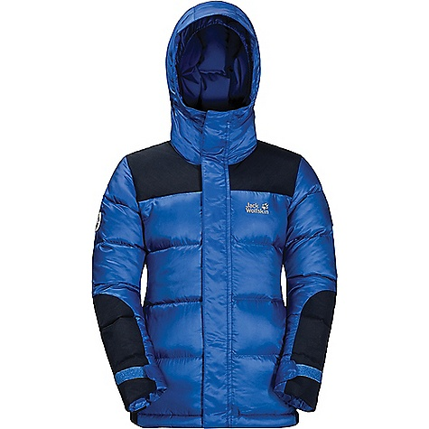 Jack Wolfskin Kids' Cook Jacket Coastal Blue Jack Wolfskin Kids' Cook Jacket - Coastal Blue - in stock now. FEATURES of the Jack Wolfskin Kids' Cook Jacket 2 Hip pockets, inner pocket Fixed hood, adjustable volume Snow cuffs Adjustable hem Reflective labels on the sleeves, reflective details Environmentally friendly Ultimate protection against the cold natural product Down certified according to ethical standards 100% Windproof Water-repellent, breathable High level of heat retention High loft Fast-drying synthetic fibre fill Fabric Details Main fabric: Airgrid 20D 100% Polyester Additional fabric: Texapore ottoman taslan 2L: 100% Polyamide Filling: 80/20 Grey duck down RDS: 80% grey duck down, 20% feather