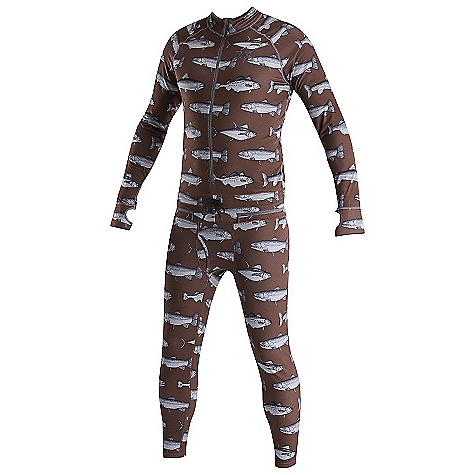 Image of Airblaster Men's Hoodless Ninja Suit Burgundy Fish