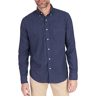 Faherty Melange Oxford Long Sleeve Shirt - Navy