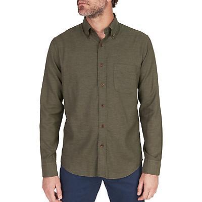 Faherty Melange Oxford Long Sleeve Shirt - Spruce