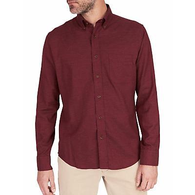 Faherty Melange Oxford Long Sleeve Shirt - Burgundy