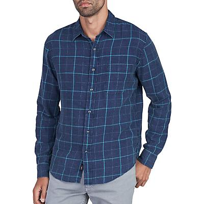 Faherty Ventura Long Sleeve Shirt - Indigo Windowpane Blue