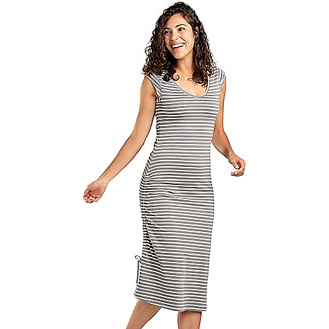Toad & Co Women's Muse Dress Smoke Balanced Stripe Toad & Co Women's Muse Dress - Smoke Balanced Stripe - in stock now. FEATURES of the Toad & Co Women's Muse Dress Moisture-wicking Oeko-Tex 100 certified fabric Adjustable draw cord along right side Patch side pocket Shift silhouette Fabric Details 58% Organic Cotton, 39% Lenzing Modal, 3% Spandex