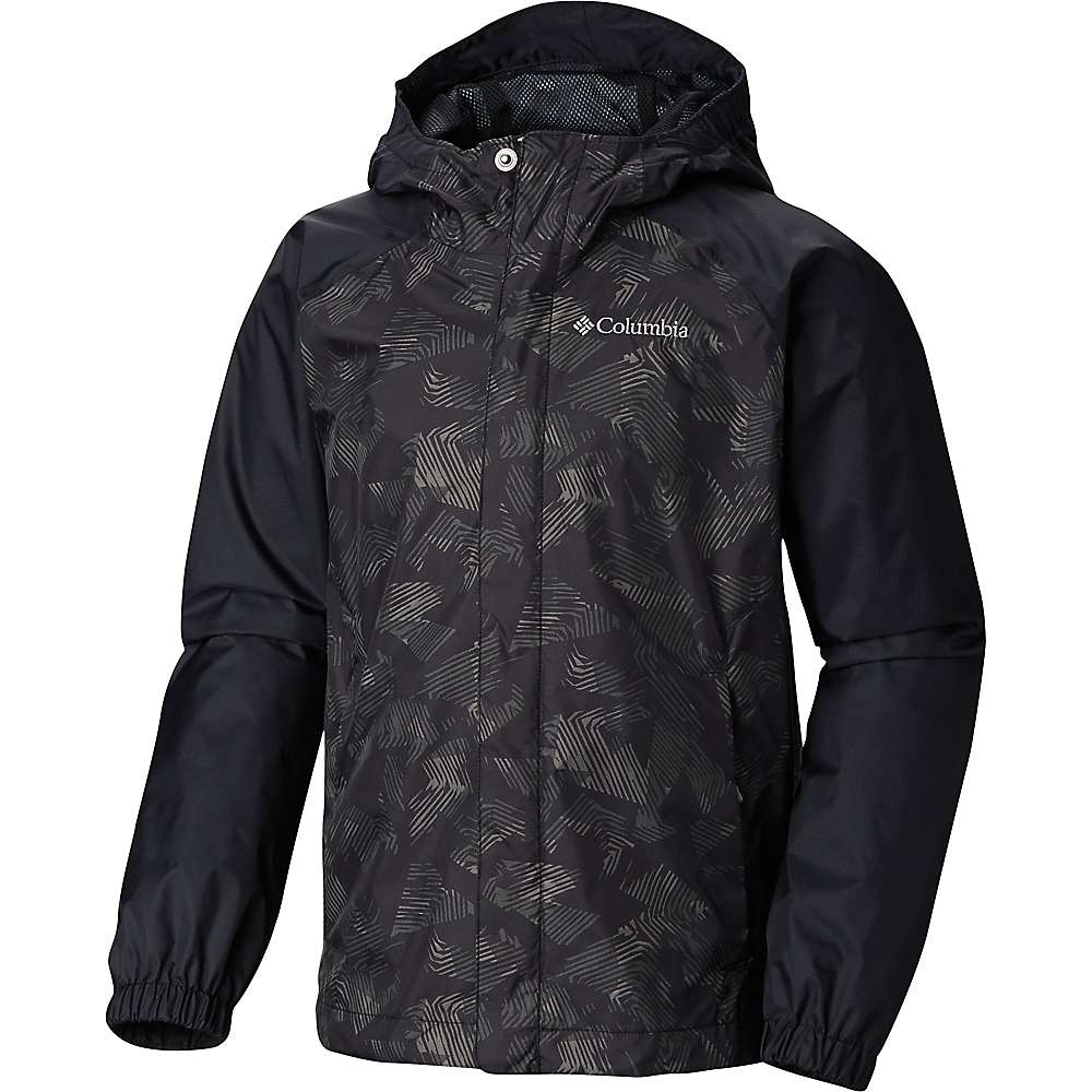 Columbia Youth Fast and Curious II Rain Jacket - Small - Black Texture
