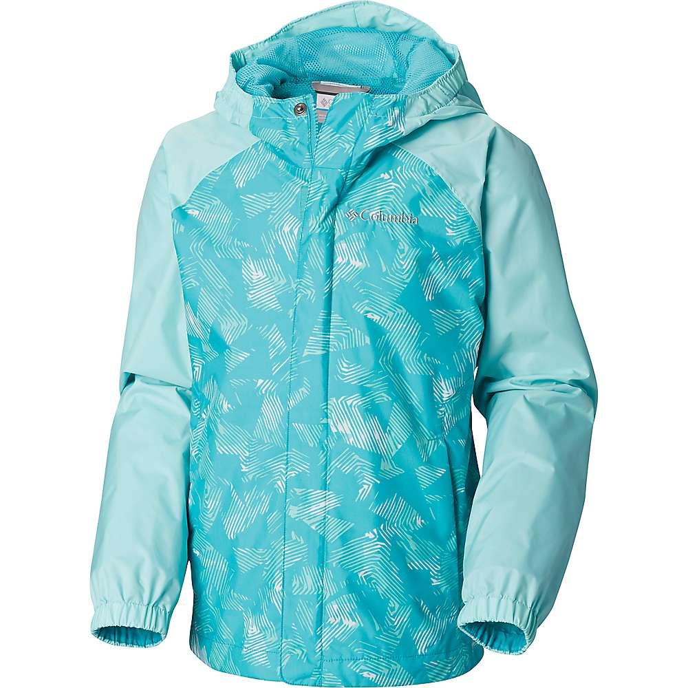 Columbia Youth Fast and Curious II Rain Jacket - Medium - Geyser Invizza / Gulf Stream Texture
