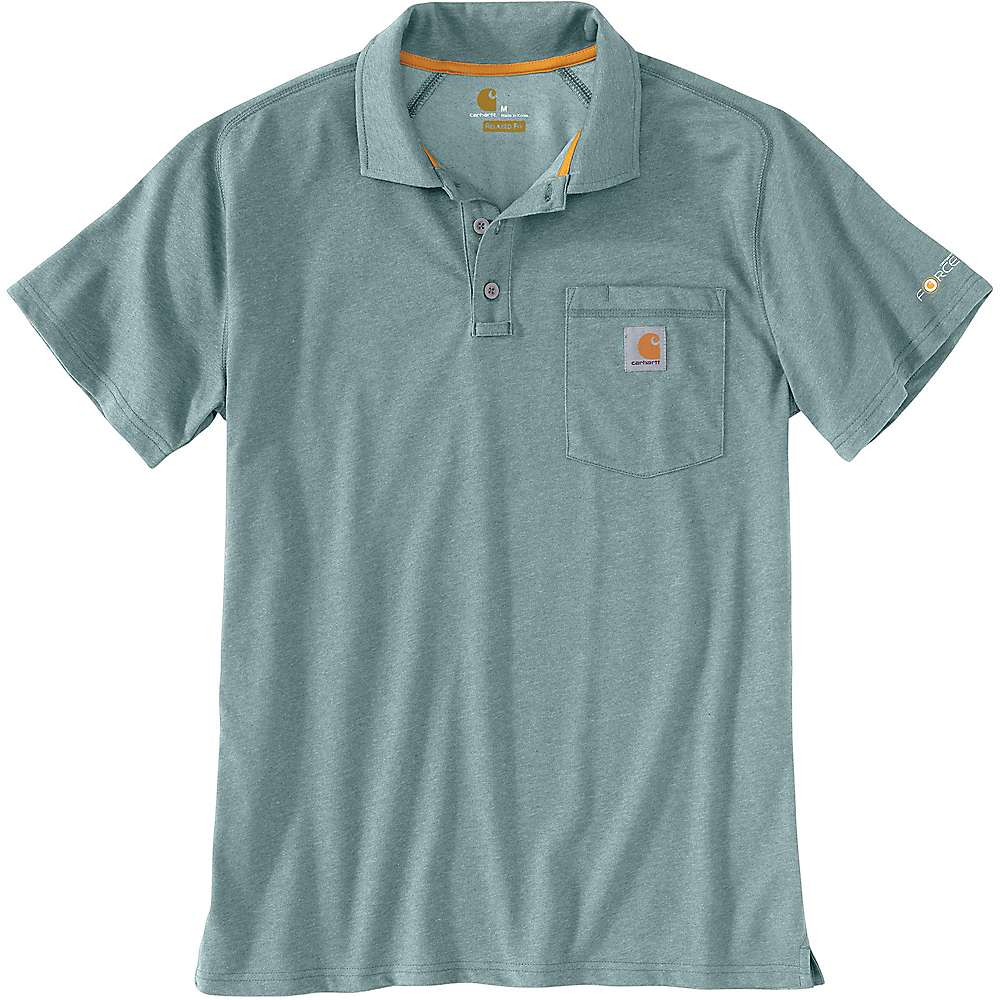 Carhartt Men's Force Cotton Delmont Pocket Polo - Small Regular - Cinderblock Heather