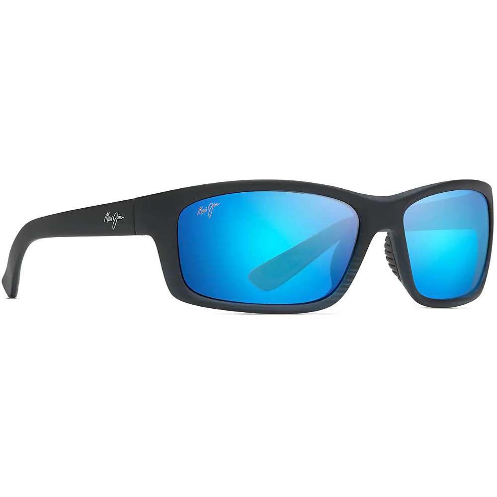 Maui Jim Kanaio Coast Polarized Sunglasses - One Size - Matte Translucent Blue Black w/ Stripe/Blue Hawaii