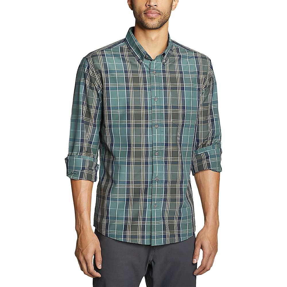 Eddie Bauer Travex Men's On the Go Long Sleeve Poplin Shirt - Small - Evergreen