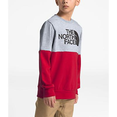 The North Face Youth Terry Peak Color Block Crew - TNF Light Grey Heather / TNF Red