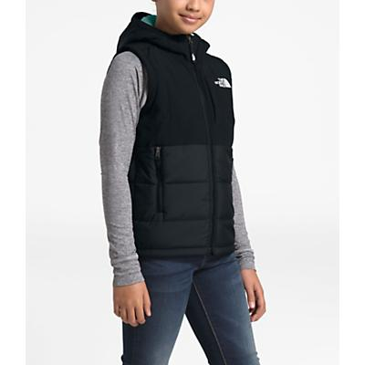 The North Face Youth Balanced Rock Insulated Hooded Vest - TNF Black / Windmill Blue
