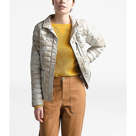 The North Face Women's ThermoBall Eco Snap Jacket Dove Grey Oversized Textured Camo Print